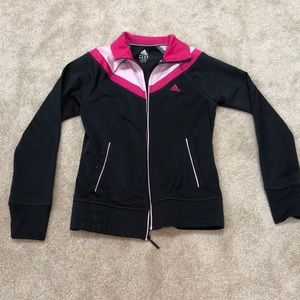 Adidas charcoal grey and pink lightweight jacket